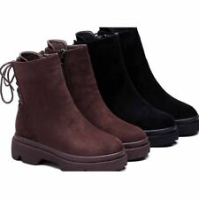 Women's Suede Martin Boots Winter Fur Lined Warm Zip Snow Shoes Lace up Sneakers