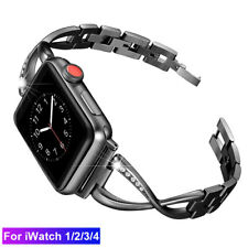 For Apple Watch Series 2 3 4 Watch Band Metal Bling Wristband Strap 38/42 44 mm