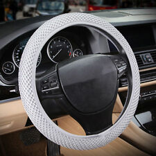 Car Steering Wheel Cover Dynamic Fiber Leather Embossed Four Seasons Gray 38cm