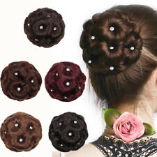 Female Wig Hair Ring Curly Bride Makeup Diamond Bun Flowers Chignon Hairpiece