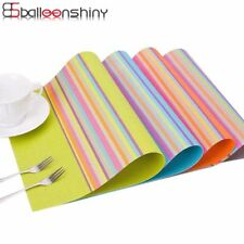 Stripe Placemat Tea Pans Dishes Individual Table Mats Coasters Waterproof Pads