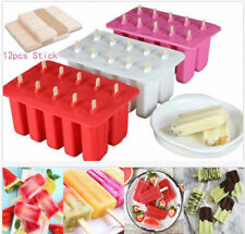 10 Frozen Cream Mold Maker Popsicle Sticks Lolly Tray+12 Cells Pop Mould Ice Ice