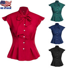 Womens Bow Tie Neck Long Sleeve Blouse Casual Solid Color Casual T Shirt Tops US