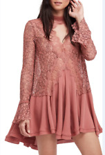 Free People Long Sleeve Flowy Lace Mini Dress Womens Cocktail Above Knee NWT