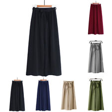 Elastic Waist Wide Leg Pants Culotte Pants Bowknot Loose Solid Polyester Casual