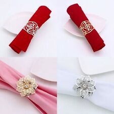 Elegant 12pcs Wedding Napkin Rings Hollow Floral Pearl Metal Napkin Buckle
