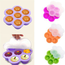 7 Holes Silicone Egg Bites Mold Cooker Kitchen Pot Accessories W/ Lid Reusable