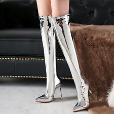 Women Silver Pointy Toe Over Knee High Stiletto Heel Thigh Boots Nightclub Shoes