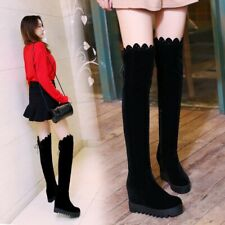 Womens Suede Fabric Winter Warm Over The Knee High Boots  Wedge High Heels Shoes
