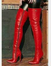 Sexy Women Leather Over Knee Thigh Boots Pointy Toe Nightclub Zipper Up Shoes