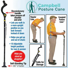 Campbell Posture Cane - Walking Cane with Adjustable Heights, As Seen on TV, New