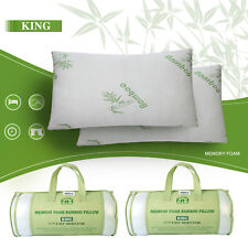 1-2PCS Bamboo Memory Foam Pillow relieve suffering Hypoallergenic with Carry Bag
