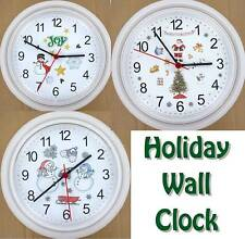 WINTER HOLIDAY WALL CLOCK Snowman Snow Santa Claus Christmas Tree Bells NEW