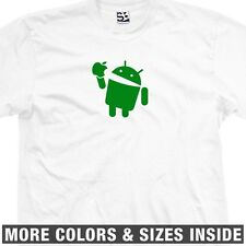 Android Eats Apple T-Shirt - Eating Gobbles Swallows Chews - All Sizes & Colors