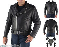 Premium Mens Brando Motorcycle Leather Jacket A+ Cowhide CE Armour Cruiser Biker