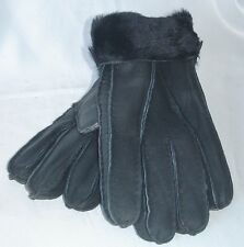 NEW! BLACK REAL SHEEPSKIN SHEARLING GLOVES NICE&WARM!