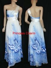 Princess Charm Size 10 12 14 16 18 20 22 Long Evening Dress White Blue New
