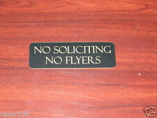 No Soliciting no Flyers sign Office 10 colors Engraved