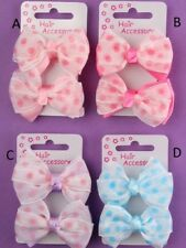 GIRLS PACK OF 2 SATIN SPOTTED HAIR BOW PONIOS