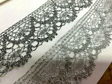 "VINTAGE METALLIC Lace 1 3/4"" Scallop Crochet 1yd FRANCE"