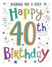 female cute open traditional happy 40TH birthday card - 5 x cards to choose from