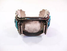 TURQUOISE STERLING SILVER WATCH BANGLE 136GR