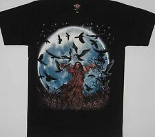 Skull Skeleton Reaper Crow Tattoo S/S T-Shirt  - NEW