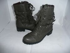 LADIES OLIVE STUDDED LACE UP BOOTS/SHOES NEW