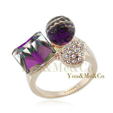 18k Rose Gold EP Color Changing Crystals Ring