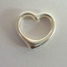 1 STERLING SILVER 3D PUFF HEART CONNECTOR LINK BEAD CHAIN LINK BAIL EXTENDER