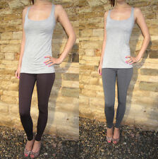 Ankle Length Leggings Viscose Elastane Chilli Chocolate or Grey Sizes 8 - 18