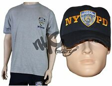 NYPD GIFT SET GRAY EMBROIDERED T-SHIRT & BASEBALL HAT MENS UNISEX TEE CAP S-3XL