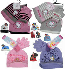 BNWT GIRLS DISNEY PRINCESS/ SANRIO HELLO KITTY CHARMMY HAT &GLOVES SET 4-10 YRS