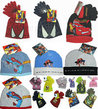 BNWT BOYS KNITTED BEANIE HAT-HAT& GLOVES SET DISNEY CHARACTER ONE SIZE 3-8 YRS