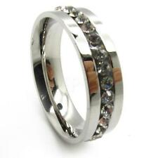 Men's silver crystal inlay wedding finger ring stainless steel gift