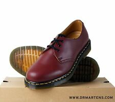 UK 7 - 12 Cherry Red Dr Martens AirWair 1461z Leather 3 eyelet Shoe Smooth Docs