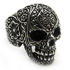PUNK Men's Black gothic poker skull stainless steel silver flower finger ring