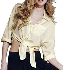 BNWT MISS SELFRIDGE Ladies Cropped Tie-Blouse/Shirt 14 Cream/Natural Soft-Feel