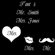 Wedding Bridal sticker decal CUSTOM Mr. Mrs. Name Heart Assorted Fonts
