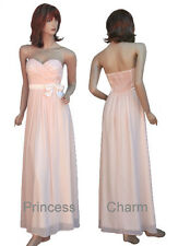 Sweetheart Champagne Chiffon Formal Evening Bridesmaid Dress Size 8 10 12 14 New