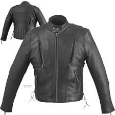 Mens Solid Cowhide Leather Motorcycle Biker Scooter Jacket~M L XL 2XL 3X 4X 5X