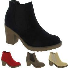 Womens Ladies Chunky Block High Heel Shoes Platform Ankle Chelsea Desert Boots