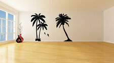 2 x Palm Tree with Birds Wall Art Stickers (Various Colours and Sizes)