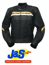 IXS MALIBU TEXTILE / LEATHER MOTORCYCLE MOTORBIKE JACKET BLACK / GOLD J&S