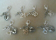 Clip On Charm 21st key 18th Key Lock 13 16 18 21 Age Milestone Bracelet Gift Bag