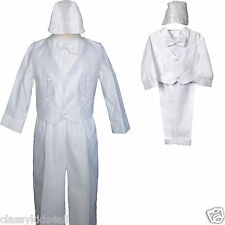 Baby Boy Baptism Christening White Gown Tuxedo Outfit XS S M L XL (0-24M) 2 3 4T