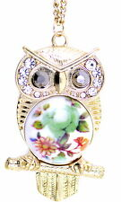 Art Deco vintage style bronze silver wise old owl necklace