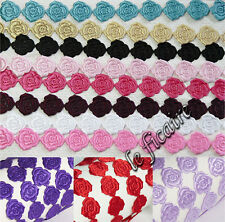 "U PICK COLOR~ 5/8"" Satin Rose Flower Ribbon Lace Trims Sew On x 10 yards #6905"