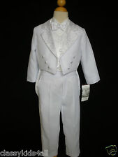 New Boys 5 pc Formal Dress tuxedo vest Suit set White Sizes S-XL 2T-4T 5-20