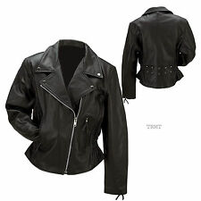 Womans Black Solid Genuine Buffalo Leather Motorcycle Riding Jacket~XS - 5XL